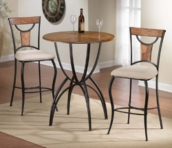 Hillsdale Pacifico Black Bistro Table Set with Copper Highlights - click to enlarge