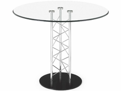 Chardonnay Glass Top Dining Table with Black Base - click to enlarge
