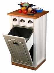 White Butcher Block Bin with Pantry - click to enlarge