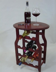 Apachi Mahogany 11 Bottle Wine Rack with Table Platform - click to enlarge