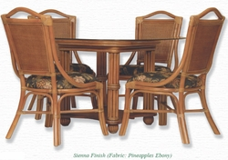 Alexander & Sheridan Serengeti Beveled Glass Top Dining Set in Sienna – 5 Piece - click to enlarge