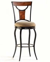 Hillsdale Pacifico Black Swivel Bar Stool with Honey Maple Accents - click to enlarge