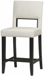 "Linon Vega 24"" Espresso Frame Counter Stool with White PVC Fabric - click to enlarge"
