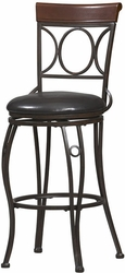 "Linon Circles Back 24"" Counter Stool - Brown & Black - click to enlarge"
