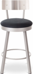 Lauren Amisco Metal Swivel Stool with Steel Backrest - click to enlarge