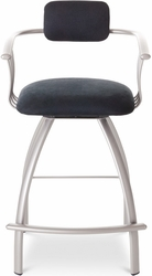 Kris Contemporary Amisco Metal Swivel Stool with Armrests - click to enlarge