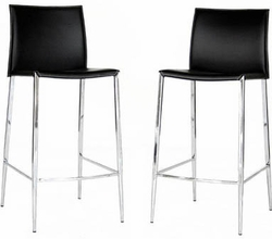 Jenson Leather Bar Stool with Black Finish - Set of 2 - click to enlarge