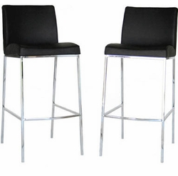 Mesa Bar Stools with Black Leather - Set of 2 - click to enlarge