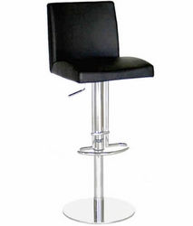Marcus Black Leather Adjustable Bar Stools with Steel Frame - Set of 2 - click to enlarge