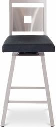 Jackson Metal Amisco Stainless Steel Backrest Swivel Stool - click to enlarge