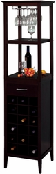 Dark Espresso Wine Tower and Glass Holder - 18 Bottles - click to enlarge
