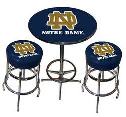 Notre Dame Chrome 3pc Pub Table Set - click to enlarge