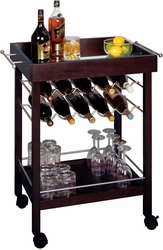 Ten Bottle Wine Cart in Dark Espresso - click to enlarge