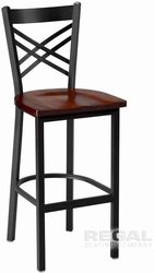 Cross Back Iron & Wood Stool - click to enlarge