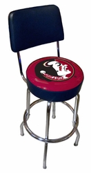 Sports Fan Florida State NCAA Chrome Bar Stool with Backrest - 1742-FSU - click to enlarge