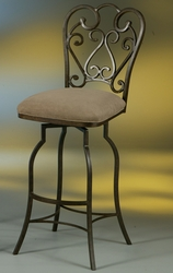 Pastel Magnolia Hand Painted Armless Swivel Barstool in Autumn Rust or Smoke Copper - click to enlarge