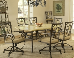 Hillsdale Brookside 7-Piece Dining Set with Fossil Stone Table - 4815DTBCOVC7 - click to enlarge