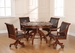 Hillsdale Palm Springs Game Table & 4 Chairs Set in Medium Brown Cherry