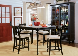 American Drew Camden Black Gathering Set with 4 Barstools - click to enlarge