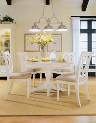 American Drew Camden White Dining Set with 4 Side Chairs - click to enlarge