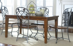 Riverside Harmony Antique Oak Dining Table with 4 Side Chairs - click to enlarge