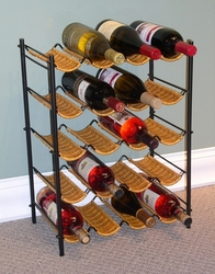 4D Concepts Wicker and Metal Wine Rack - 263015 - click to enlarge