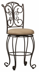 Linon Gathered Back Counter Stool - 02790MTL-01-KD-U - click to enlarge