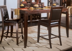 American Drew Tribecca Root Beer Gathering Table Set with 2 Barstools - click to enlarge