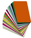 """Blank Colored Vinyl Cards  available in  a variety of colors . Graphics quality, CR80/30mil. 500 card pack.   3-3/8"""" (54mm) wide x 2-1/8"""" (85mm) long x 30mil (0.76mm)   thick"""
