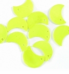 Yellow Green Half Moon Hammershell Beads 10mm