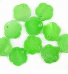 Silver Green Flower Hammershell Beads 10mm