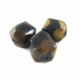 Burnt Faceted Round Horn Beads