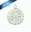 Flower Charm Silver Finish 20x28mm
