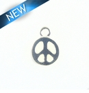 Peace Sign Charm Silver Finish 14X19mm