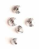 Corrugated Saucer Sterling Silver Beads 5.9mm