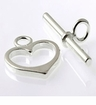 Sterling Silver Heart Toggle Clasps