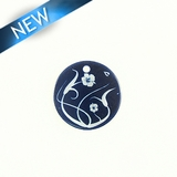 Makabibi Round 20mm Flower Laser Design Dark Blue