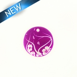 Makabibi Round 20mm Flower Laser Design Purple