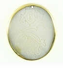 Makabibi Oval Shell Seahorse Etched Gold Plated