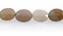 Faceted Flat Oval Natural Gray Agate Beads 8x10mm