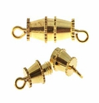 Gold Plated Barrel Clasps 14x4mm