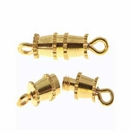 Gold Plated Barrel Clasps 12x3mm