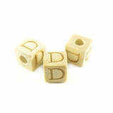 "Whitewood Alphabet Wood Bead 8mm ""D"""