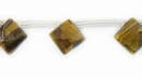 Tiger Eye Faceted Square Beads 10x10mm