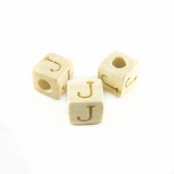 "Whitewood Alphabet Wood Bead 8mm ""J"""