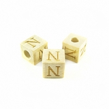 "Whitewood Square Alphabet Wood Bead 8mm ""N"""