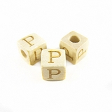 "Whitewood Alphabet Wood Bead 8mm ""P"""