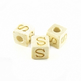 "Whitewood Alphabet Wood Bead 8mm ""S"""