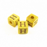 "Nangka Alphabet Wood Bead 8mm ""H"""