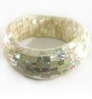 White Abalone Blocking Wavy Bangle